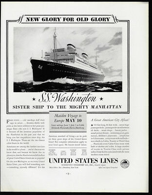 1933 Vintage Print Ad 30's UNITED STATES LINES SS Washington boat voyage travel