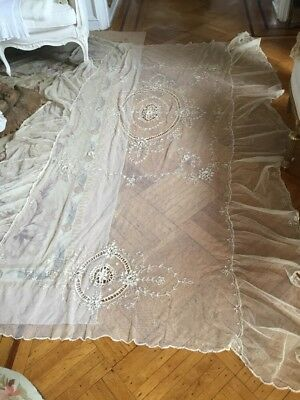 SHABBY Antique VTG VICTORIAN TWIN OLD Net Lace Coverlet BEDSPREAD TABLECLOTH