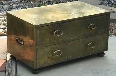 Large Brass Trunk Chest 1970 / 80s era Coffee Table Unique Vintage Hammered