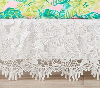 $99New pottery barn kids Lilly Pulitzer Party Patchwork eyelet trim Crib Skirt