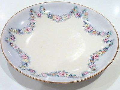 Antique Crown Staffordshire Dish Platter Plate 1925 Signed Mh Swags Blue White