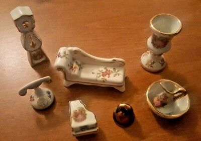 Limoges France Porcelain Miniatures Lot - Wash Basin & Pitcher, Telephone, Piano