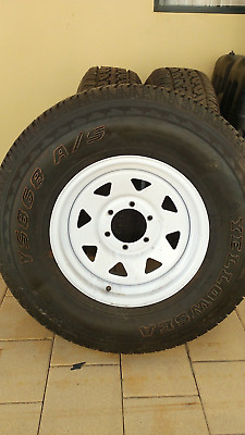 3 wheels 265/75R16 with Sunraysia rims and as new tyres (toyota hub)