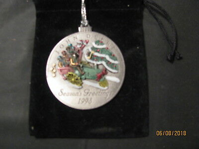 1998 John Deere Pewter Christmas Ornament No 3  in Series