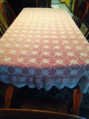 Beautiful Vintage Cream Colored Hand Crocheted Cotton Lace Table Cloth