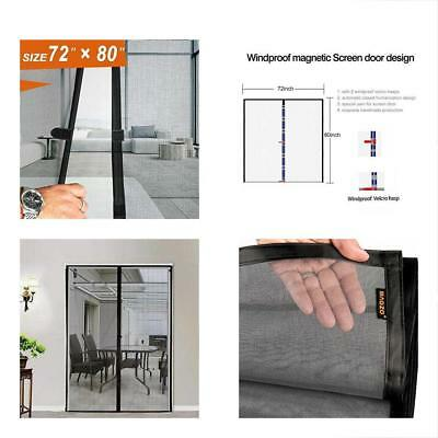 Magnetic Screen Door 72x80, Mesh French Fiber Heavy Duty Large Double Insect Fit