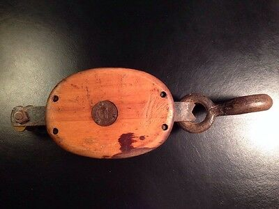 Western Block Co Company Antique Pulley Lockport NY New York Wood