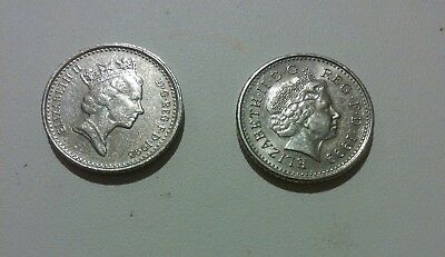 GB (UK, England) 2 coins lot 5 Pence x 2 different photo of Queen Elizabeth