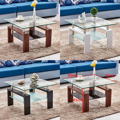 Coffee Table Clear Tempered Glass Top With Shelf White Brown Black Living Room