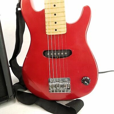 """Crescent Electric Guitar Beginners 6 String 30"""" with Strap Red"""
