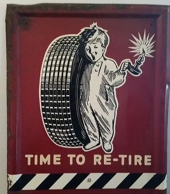 """Fisk Original1949 Tire Gas Oil Advertising Sign """" Time To Re-Tire Rare Sign 60"""""""