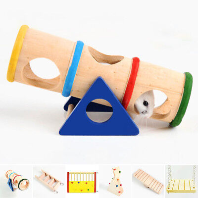 Wooden Seesaw Swing Cage Climbing House Stair Play Pet Toys For Hamster Rat Mice