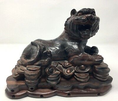 Antique Vintage 19th Century Asian Hand Carved Wood Tiger Sculpture Statue 10''