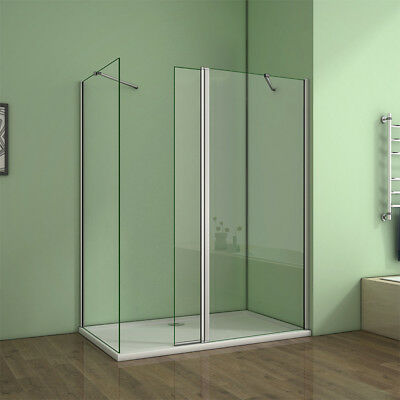 Walk In Shower Enclosure Wet Room H1950 Easy clean NANO Glass with Flipper Panel