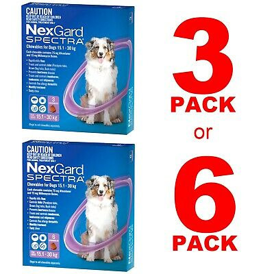 NexGuard Spectra Purple for Dogs 15.1-30kg 3 Pack or 6 Pack
