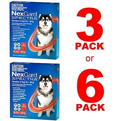 NexGuard Spectra Red for Dogs 30.1-60kg 3 Pack or 6 Pack