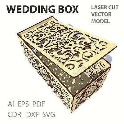 FILE DXF CDR EPS AI SVG for Laser Cut or CNC ROUTER WEDDING CARD BOX DRAWING
