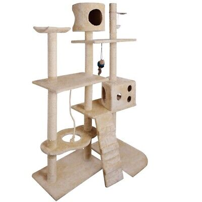 Cat Scratching Post Tree Gym House Pet Condo Furniture Scratcher Pole Toy Beige