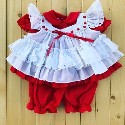 Vintage Baby Pinafore Red Dress And Bloomers