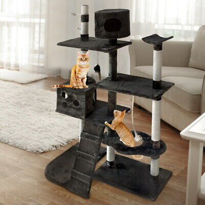 Large Cat Scratching Post Tree Gym House Condo Furniture Scratcher Pole Grey