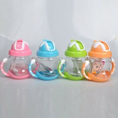 UK Baby Sippy Drinking Water Bottle Cup Straw Toddler Infant Children Anti Spill