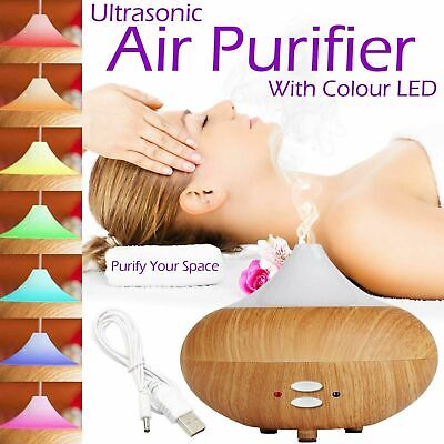 Oil Aroma Diffuser Electric Ultrasonic Mist Humidifier Purifier Aromatherapy LED