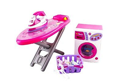 PHW deAO Role Play Washing Machine, Ironing Board & Iron Playset Plus