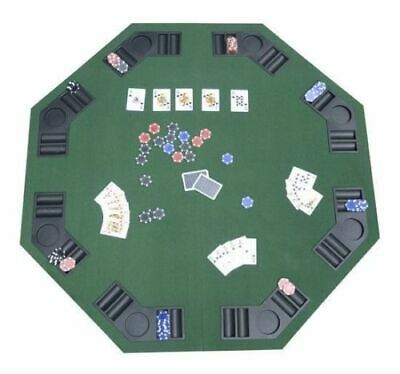 "48"" Folding Poker & Blackjack Table 8 Player Octagon Green"