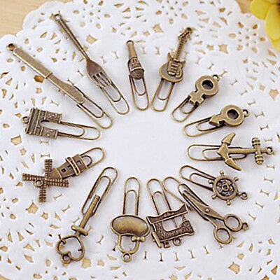 6 Pcs/lot Cute Metal Bookmarks Vintage Key Bookmarks Paper Clips Kid Gifts