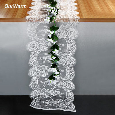 White Lace Table Runner Chair Sash Table Cover Wedding Party Banquet Home Decor