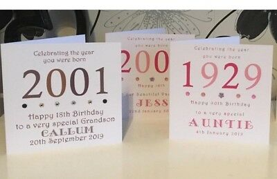 "Year You Were Born Birthday 6"" Card Personalised 18 21 30 40 50 60 70 80 90 100"