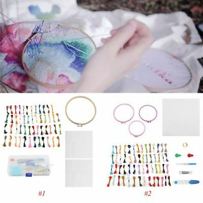 Hand Cross Stitch Embroidery Starter Kit Hoops Threads Needles Sewing Craft DIY