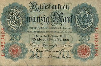 Authentic 20 Reichsmark note from Germany 1914 German Empire, 214