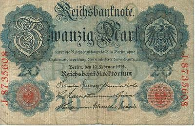 Authentic 20 Reichsmark note from Germany 1914 German Empire, 217
