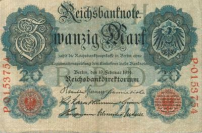Authentic 20 Reichsmark note from Germany 1914 German Empire, 215
