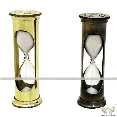 Antique Vintage Collectible Solid Brass Nautical Tube White Sand Timer Set Of 2