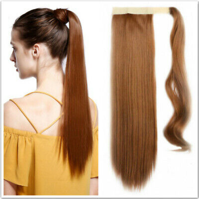 24'' Straight Wrap On Style Clip In Ponytail Hair Extension Synthetic Hairpieces