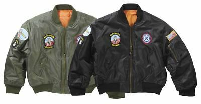 Kids Ma1 Flight Jacket With Badges Childrens Airforce Top Gun Pilot Army Coat