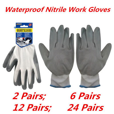 Premium Weatherproof Grey Nitrile Gloves Waterproof Work Gardening Glove WMCV