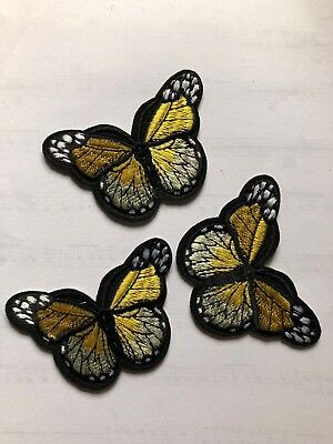 1 Yellow Butterfly Embroidered Clothing Iron-On Patch Applique, Large, #BT1