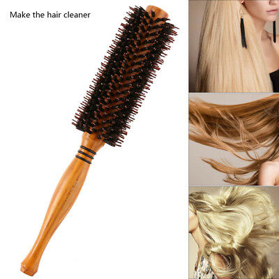 Useful Round Wooden Handle Hairdressing Boar Bristle Curling Hair Comb Brush