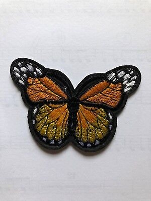 1 Orange Butterfly Embroidered Iron-On Patch Applique, Large, #BT11