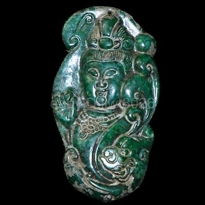 Chinese old natural jade hand-carved statue double phenix pendant ~guanyin