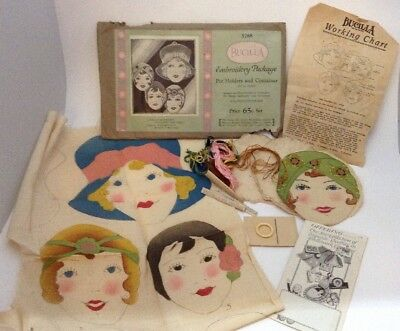 Bucilla 5768 Three Little Maidens Pot Holders And Containers Hand Stenciled 1927