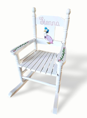 Sensational Personalised Wooden Childrens Rocking Chair Seat White Blue Bralicious Painted Fabric Chair Ideas Braliciousco