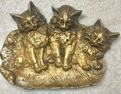 Antique Bradley & Hubbard Bronze Cats Kittens Dish B&H 1640 Victorian Brass