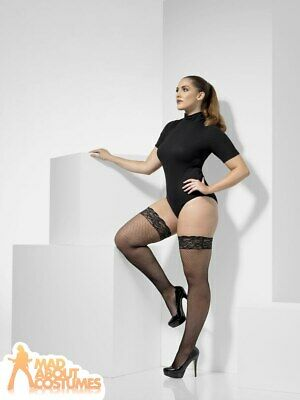Black Fishnet Hold Ups Plus Size Stockings Ladies Fancy Dress Costume Accessory