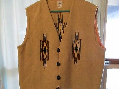 Vintage Ortega's XL(50)Tan Native American hand woven vest 100% wool Made in USA