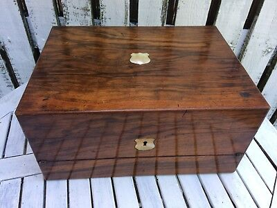 Antique Mahogany Wood Writing Slope/Work Box Mother of pearl inlay