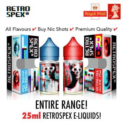 RetroSpex 25ml E-Liquid Vape Juice VG | All Flavours | Short Fill 0mg 3mg Liq